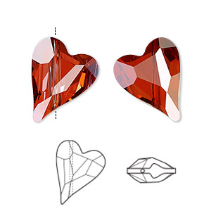 bead, swarovski crystals, crystal passions, crystal red magma, 17x13mm diagonally drilled right- and left-facing faceted wild heart (5743). sold per pkg of 12.