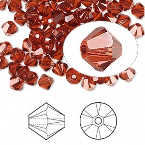 bead, swarovski crystals, crystal passions, crystal red magma, 5mm xilion bicone (5328). sold per pkg of 144 (1 gross).