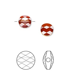 bead, swarovski crystals, crystal passions, crystal red magma, 8mm faceted mini round (5052). sold per pkg of 24.