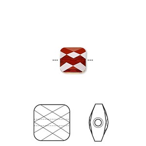 bead, swarovski crystals, crystal passions, crystal red magma, 8x8mm faceted mini square (5053). sold per pkg of 2.