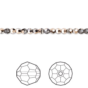 bead, swarovski crystals, crystal passions, crystal rose gold, 3mm faceted round (5000). sold per pkg of 12.