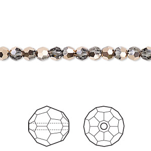 bead, swarovski crystals, crystal passions, crystal rose gold, 4mm faceted round (5000). sold per pkg of 12.