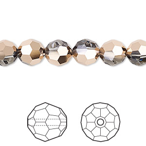 bead, swarovski crystals, crystal passions, crystal rose gold, 8mm faceted round (5000). sold per pkg of 12.