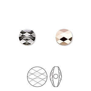 bead, swarovski crystals, crystal passions, crystal rose gold, 8mm faceted mini round (5052). sold per pkg of 2.