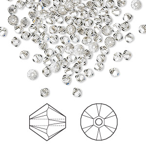 bead, swarovski crystals, crystal passions, crystal satin, 3mm xilion bicone (5328). sold per pkg of 144 (1 gross).