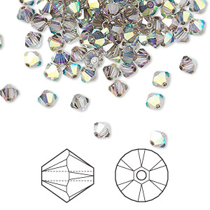 bead, swarovski crystals, crystal passions, crystal satin ab, 4mm xilion bicone (5328). sold per pkg of 48.