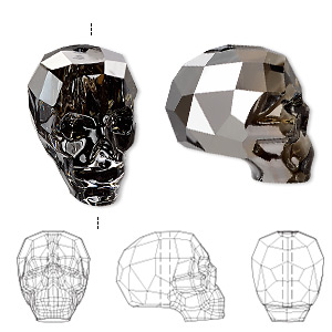 bead, swarovski crystals, crystal passions, crystal silver night, 19x18x14mm faceted skull (5750). sold individually.