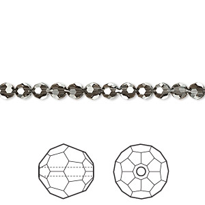 bead, swarovski crystals, crystal passions, crystal silver night, 4mm faceted round (5000). sold per pkg of 12.