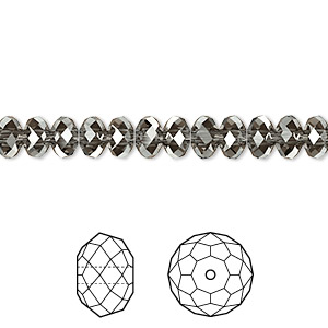 bead, swarovski crystals, crystal passions, crystal silver night, 6x4mm faceted rondelle (5040). sold per pkg of 12.
