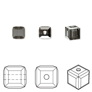 bead, swarovski crystals, crystal passions, crystal silver night, 6x6mm faceted cube (5601). sold per pkg of 6.