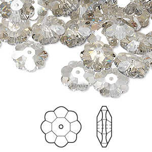 bead, swarovski crystals, crystal passions, crystal silver shade, 10x3.5mm faceted marguerite lochrose flower (3700). sold per pkg of 144 (1 gross).