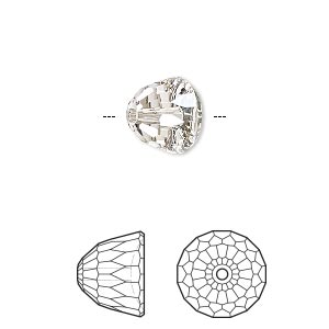 bead, swarovski crystals, crystal passions, crystal silver shade, 10x8mm faceted dome small (5542). sold per pkg of 6.