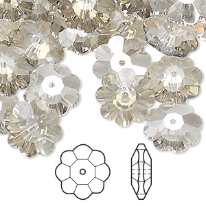 bead, swarovski crystals, crystal passions, crystal silver shade, 12x4mm faceted marguerite lochrose flower (3700). sold per pkg of 144 (1 gross).