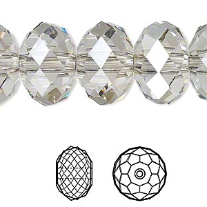 bead, swarovski crystals, crystal passions, crystal silver shade, 18x12mm faceted rondelle with 3.5mm hole (5041). sold per pkg of 6.