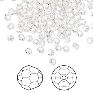 bead, swarovski crystals, crystal passions, crystal silver shade, 3mm faceted round (5000). sold per pkg of 144 (1 gross).