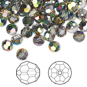 bead, swarovski crystals, crystal passions, crystal vitrail medium, 6mm faceted round (5000). sold per pkg of 144 (1 gross).