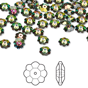 bead, swarovski crystals, crystal passions, crystal vitrail medium, 6x2mm faceted marguerite lochrose flower (3700). sold per pkg of 144 (1 gross).