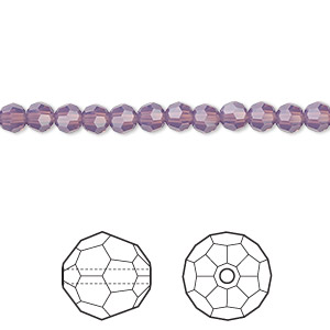 bead, swarovski crystals, crystal passions, cyclamen opal, 4mm faceted round (5000). sold per pkg of 720 (5 gross).