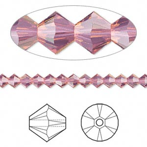 bead, swarovski crystals, crystal passions, cyclamen opal, 4mm xilion bicone (5328). sold per pkg of 48.