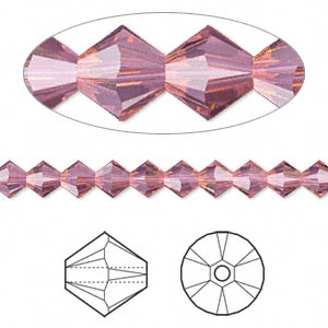 bead, swarovski crystals, crystal passions, cyclamen opal, 5mm xilion bicone (5328). sold per pkg of 24.