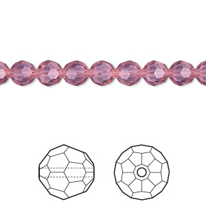 bead, swarovski crystals, crystal passions, cyclamen opal, 6mm faceted round (5000). sold per pkg of 12.