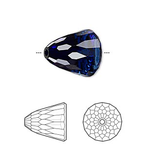bead, swarovski crystals, crystal passions, dark indigo, 15x13.5mm faceted dome large (5541). sold per pkg of 6.