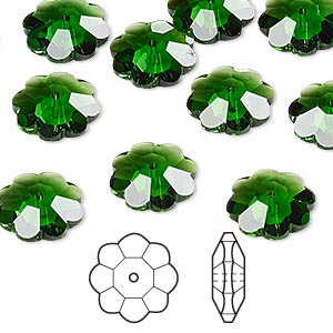 bead, swarovski crystals, crystal passions, dark moss green, 12x4mm faceted marguerite lochrose flower (3700). sold per pkg of 12.