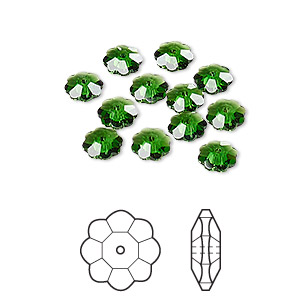 bead, swarovski crystals, crystal passions, dark moss green, 6x2mm faceted marguerite lochrose flower (3700). sold per pkg of 12.
