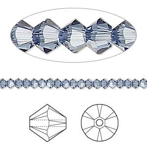 bead, swarovski crystals, crystal passions, denim blue, 3mm xilion bicone (5328). sold per pkg of 48.