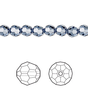 bead, swarovski crystals, crystal passions, denim blue, 6mm faceted round (5000). sold per pkg of 12.