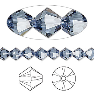 bead, swarovski crystals, crystal passions, denim blue, 6mm xilion bicone (5328). sold per pkg of 24.