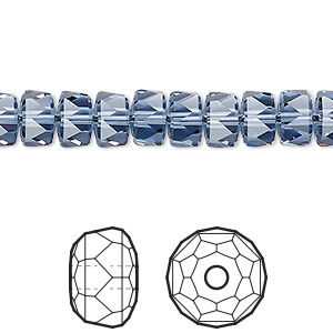 bead, swarovski crystals, crystal passions, denim blue, 8x5mm faceted rondelle (5045). sold per pkg of 4.
