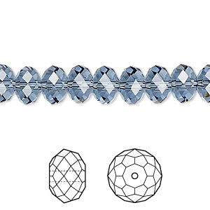 bead, swarovski crystals, crystal passions, denim blue, 8x6mm faceted rondelle (5040). sold per pkg of 12.