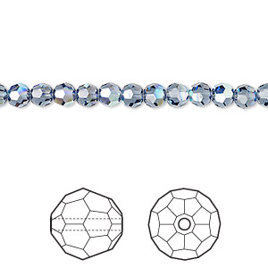 bead, swarovski crystals, crystal passions, denim blue ab, 4mm faceted round (5000). sold per pkg of 12.
