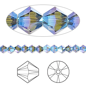 bead, swarovski crystals, crystal passions, denim blue ab2x, 4mm xilion bicone (5328). sold per pkg of 144 (1 gross).