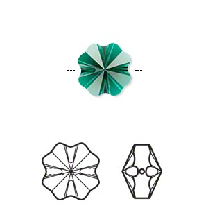 bead, swarovski crystals, crystal passions, emerald, 12x12mm faceted clover (5752). sold per pkg of 12.