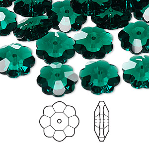 bead, swarovski crystals, crystal passions, emerald, 12x4mm faceted marguerite lochrose flower (3700). sold per pkg of 12.