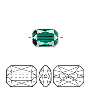 bead, swarovski crystals, crystal passions, emerald, 14x9.5mm faceted emerald cut (5515). sold individually.