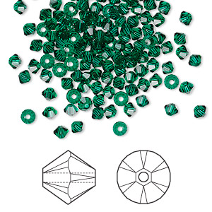 bead, swarovski crystals, crystal passions, emerald, 3mm xilion bicone (5328). sold per pkg of 144 (1 gross).