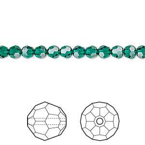 bead, swarovski crystals, crystal passions, emerald, 4mm faceted round (5000). sold per pkg of 12.