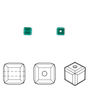 bead, swarovski crystals, crystal passions, emerald, 4x4mm faceted cube (5601). sold per pkg of 12.