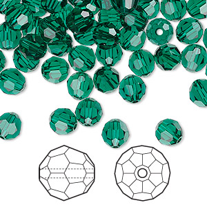 bead, swarovski crystals, crystal passions, emerald, 6mm faceted round (5000). sold per pkg of 144 (1 gross).