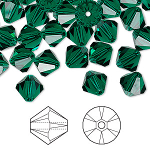 bead, swarovski crystals, crystal passions, emerald, 8mm xilion bicone (5328). sold per pkg of 72.
