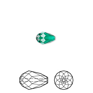 bead, swarovski crystals, crystal passions, emerald, 9x6mm faceted teardrop (5500). sold per pkg of 24.