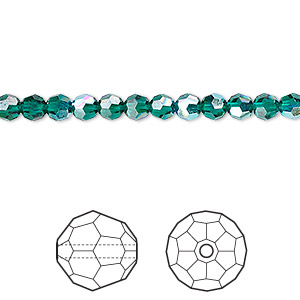 bead, swarovski crystals, crystal passions, emerald ab, 4mm faceted round (5000). sold per pkg of 12.