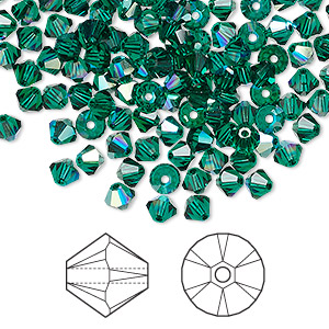 bead, swarovski crystals, crystal passions, emerald ab, 4mm xilion bicone (5328). sold per pkg of 144 (1 gross).