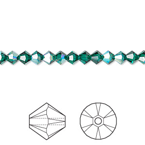 bead, swarovski crystals, crystal passions, emerald ab, 4mm xilion bicone (5328). sold per pkg of 48.