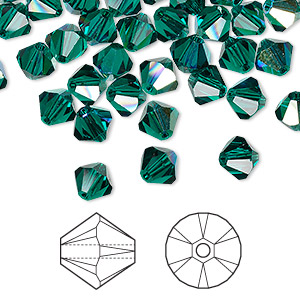 bead, swarovski crystals, crystal passions, emerald ab, 6mm xilion bicone (5328). sold per pkg of 24.