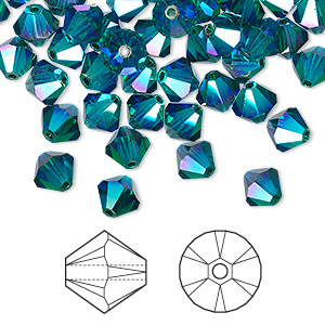 bead, swarovski crystals, crystal passions, emerald ab2x, 6mm xilion bicone (5328). sold per pkg of 144 (1 gross).