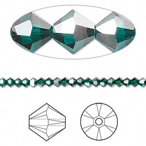 bead, swarovski crystals, crystal passions, emerald satin, 3mm xilion bicone (5328). sold per pkg of 48.